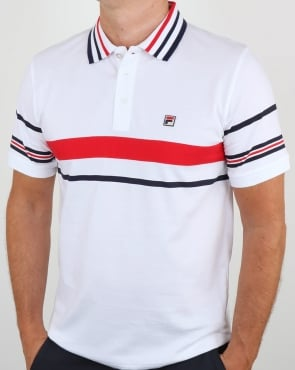 Fila Vintage Bailer Polo Shirt White/Navy/Red