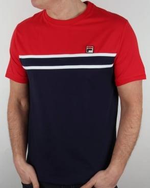 Fila Vintage Baldi T Shirt Red/Navy