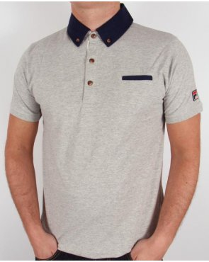 Fila Vintage Barazze Polo Shirt Grey Marl