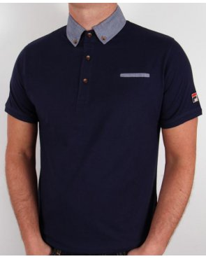 Fila Vintage Barazze Polo Shirt Navy
