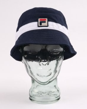 dadcf7c4cd3 Fila Vintage Basil Bucket Hat Navy White