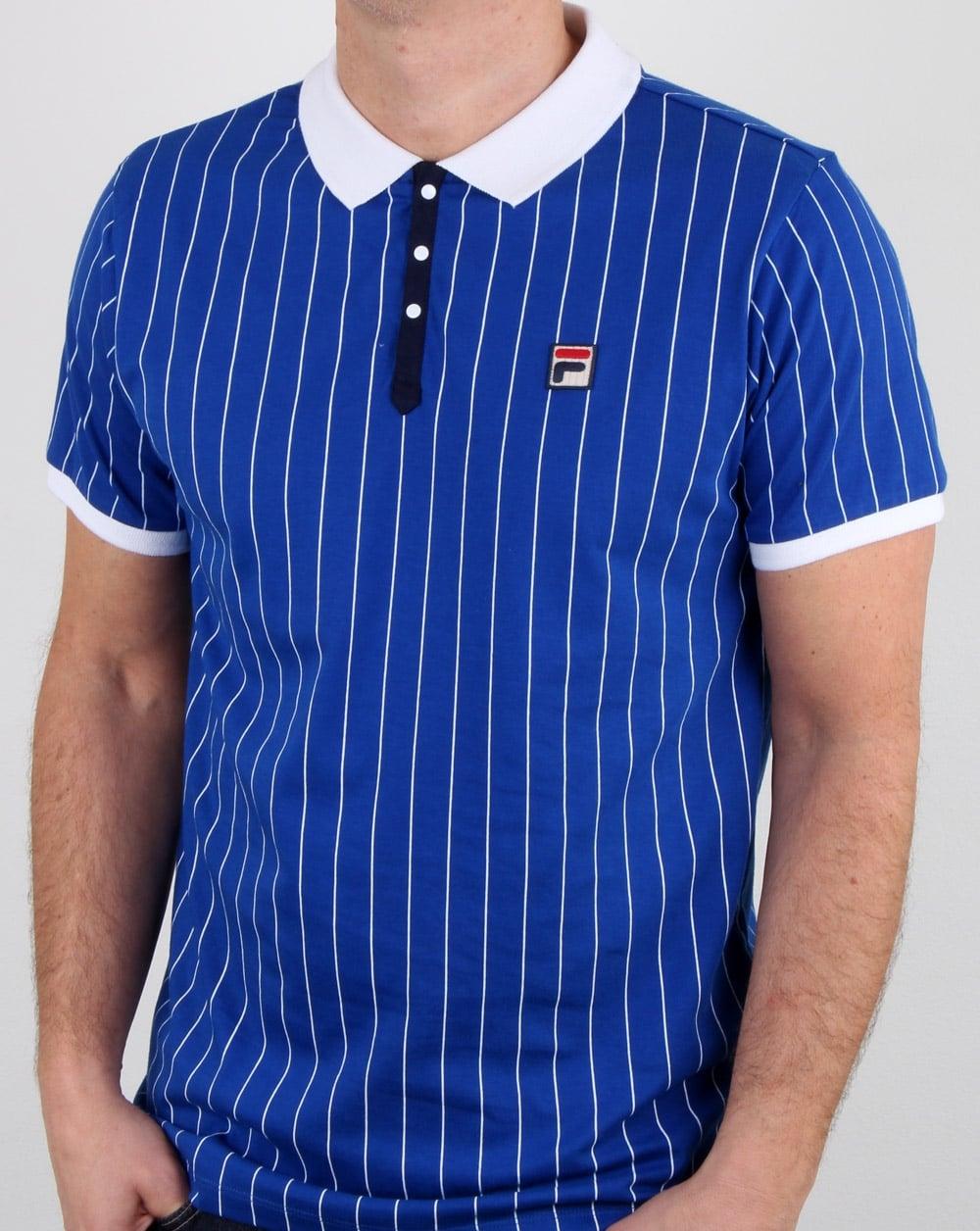 0dc8a0258b272 Fila Vintage Bb1 Polo Shirt Blue,Mens,Polo,Stripe,Bjorn Borg,Wimbledon