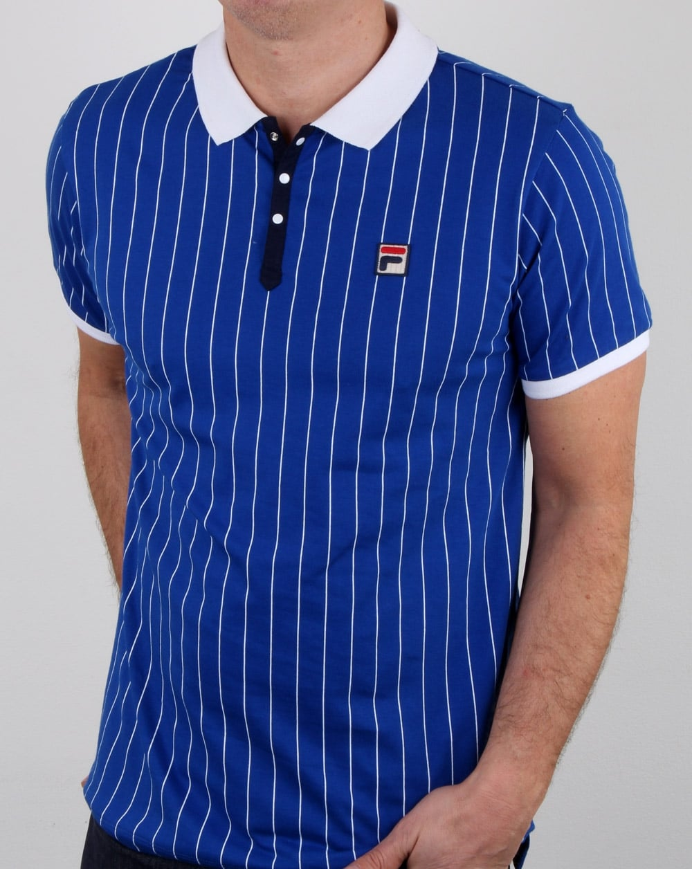 4c33baecc2cd8 Fila Vintage Bb1 Polo Shirt Blue,Mens,Polo,Stripe,Bjorn Borg,Wimbledon