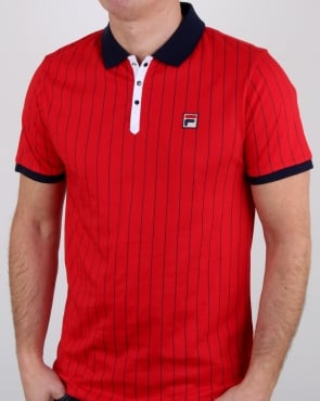 Fila Vintage Bb1 Polo Shirt Chinese Red