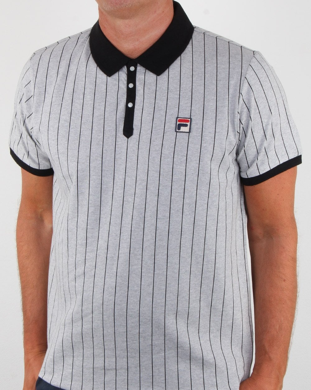 Fila Vintage Bb1 Polo Shirt Light Grey Marl