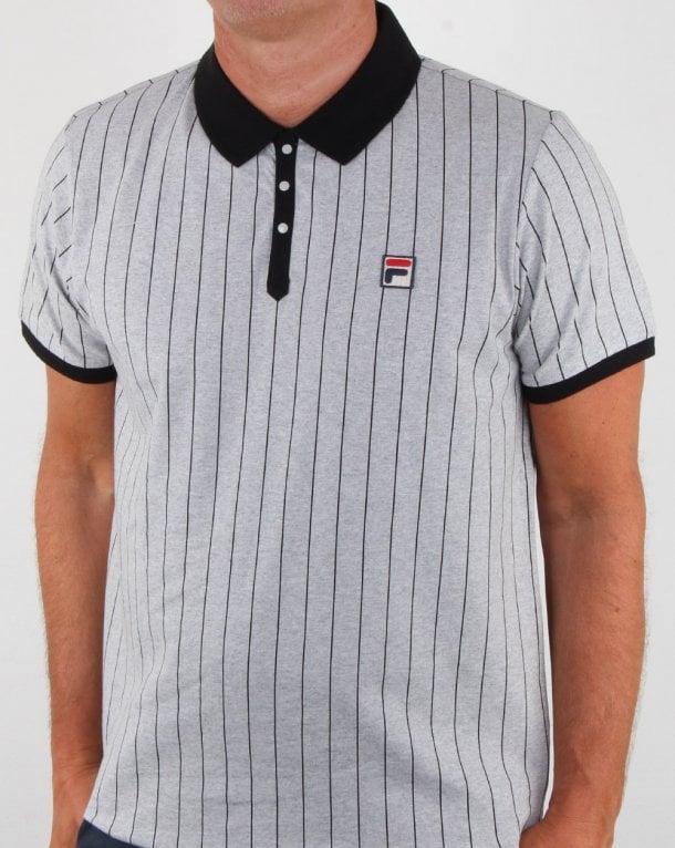 25ca5bbb25 Fila Vintage Bb1 Polo Shirt Light Grey Marl, Mens, Borg, Retro, Tennis