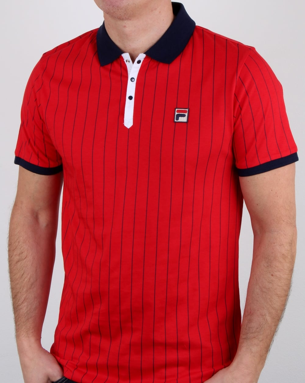 a94e15c6 Fila Vintage Bb1 Polo Shirt Red,Mens,Polo,Stripe,Bjorn Borg,Wimbledon
