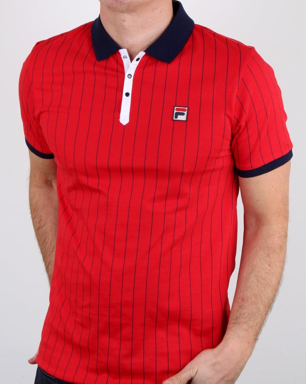 bae7e24f202d6 Fila Vintage Bb1 Polo Shirt Red,Mens,Polo,Stripe,Bjorn Borg,Wimbledon