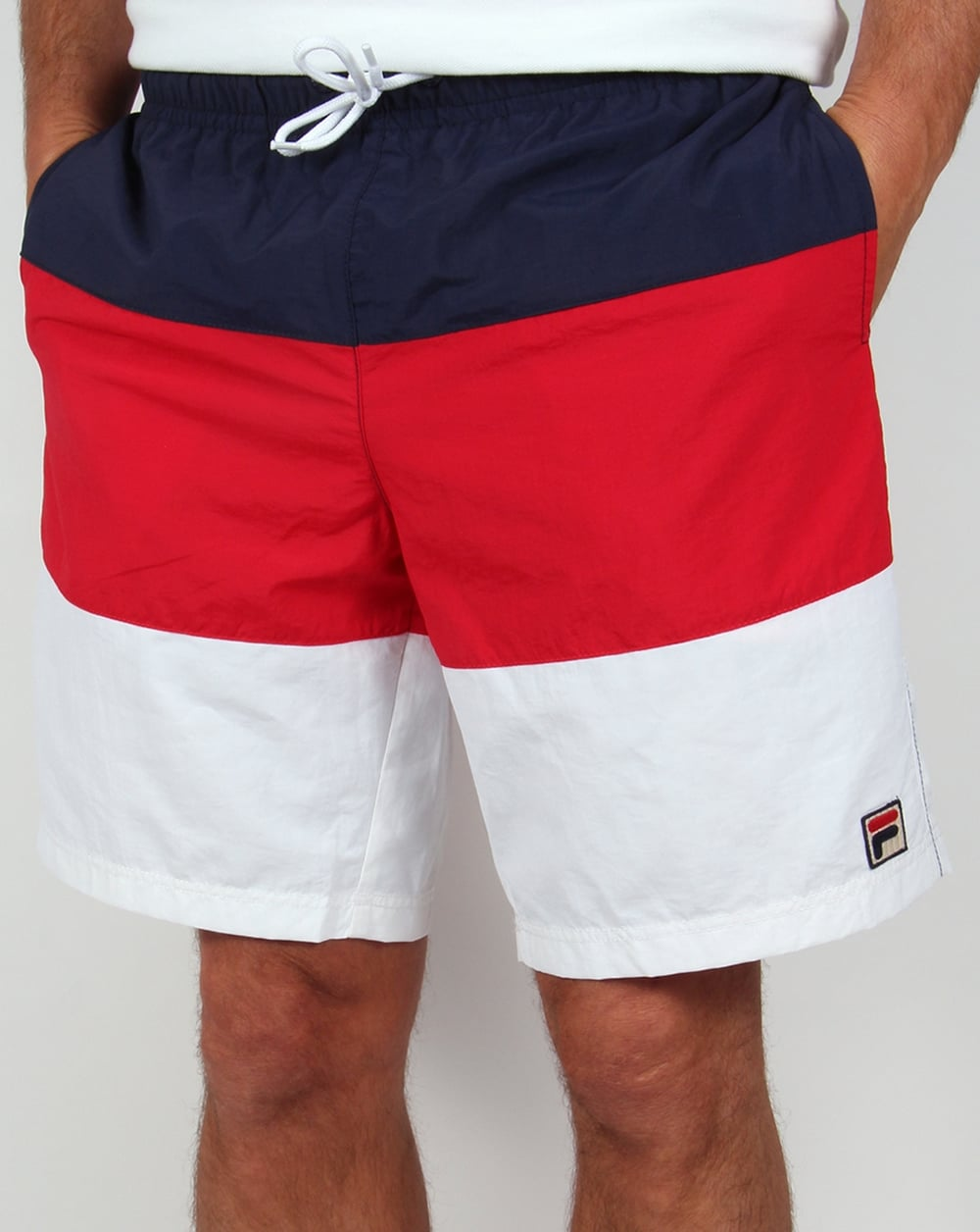 Fila Vintage Beam Beach Shorts Red  White  Navy Swimmers