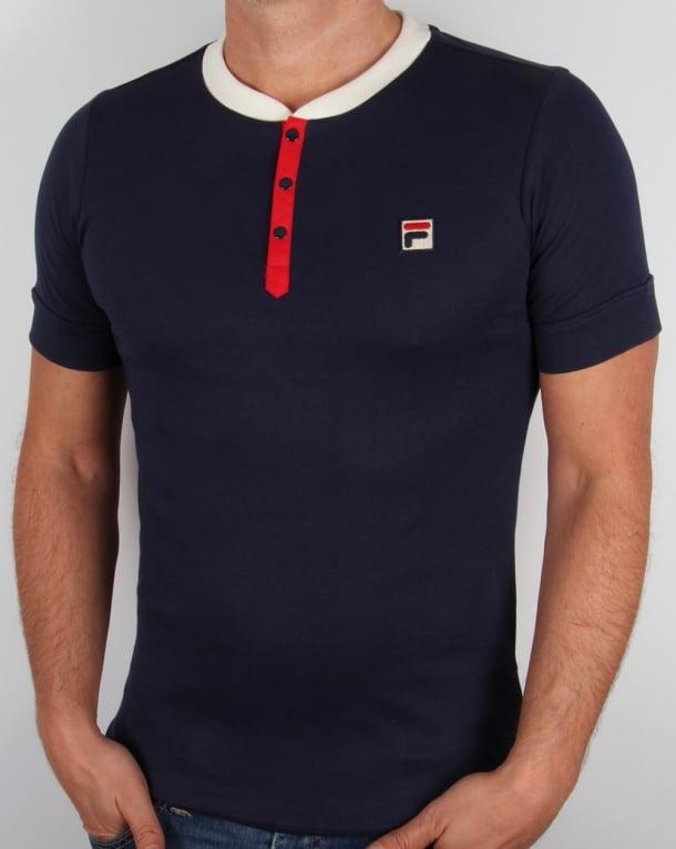 Fila Vintage Bertolucci Grandad T-shirt Navy