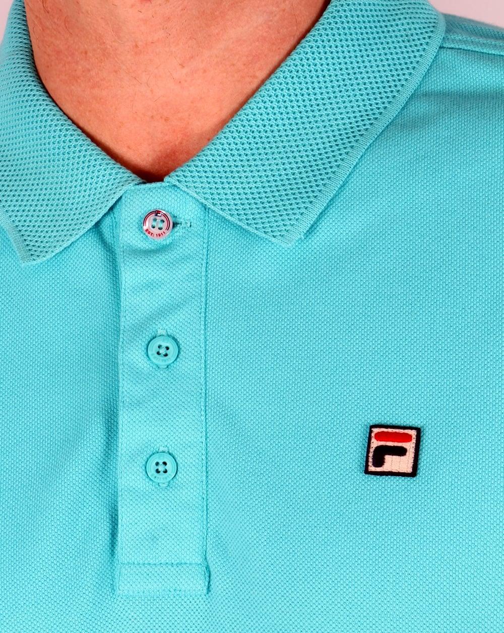 201bdc768 Fila Vintage Brizzi Polo Shirt Blue Radience, Men's, Top, Pique,Cotton