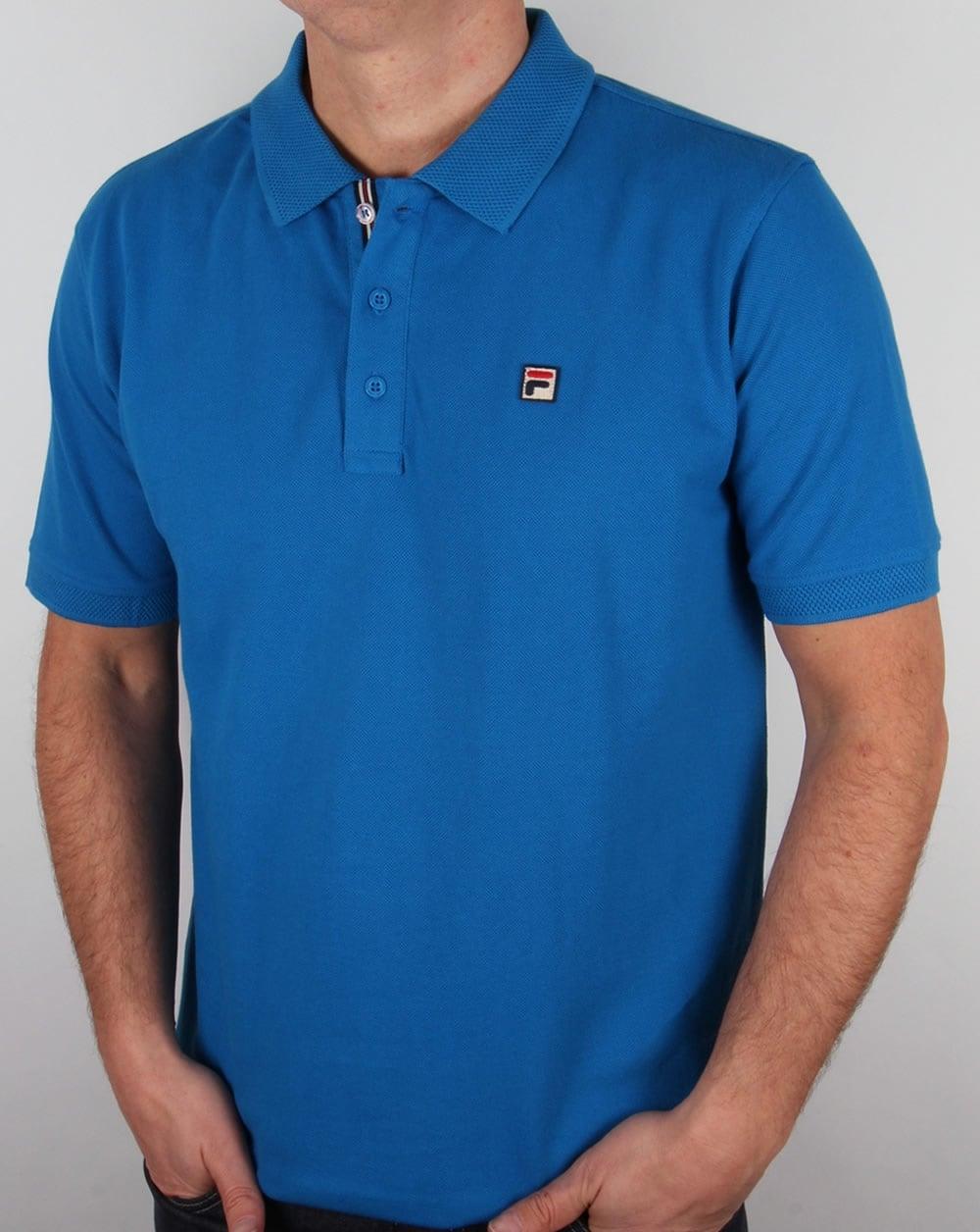 dfc31dd35 Fila Vintage Brizzi Polo Shirt Imperial Blue,cotton,mens,waffle