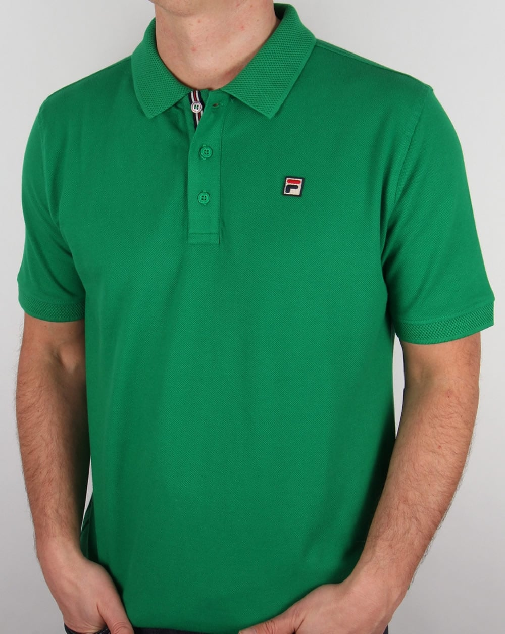 07fc5e0a2 Fila Vintage Brizzi Polo Shirt Kelly Green,cotton,mens,waffle