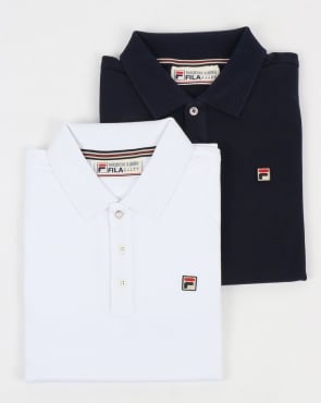 Fila Vintage Brizzi Polo Shirt Twin Pack White/Navy