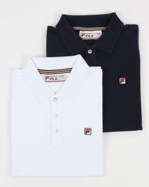 Fila Vintage Brizzi Polo Shirt Twin Pack White/Navy
