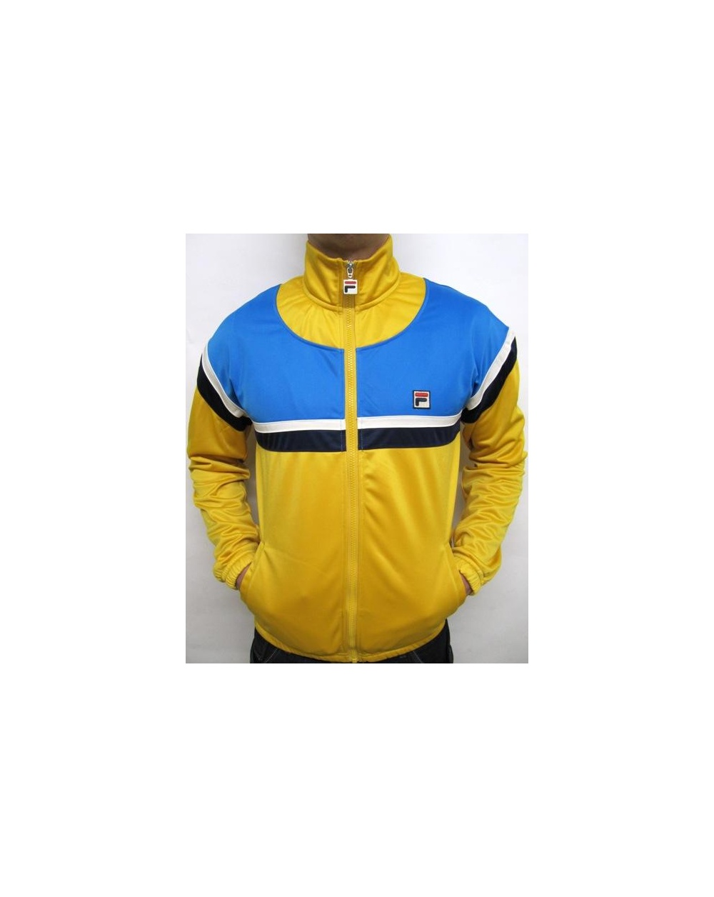 fila yellow top. fila vintage business golf track top yellow/french blue yellow
