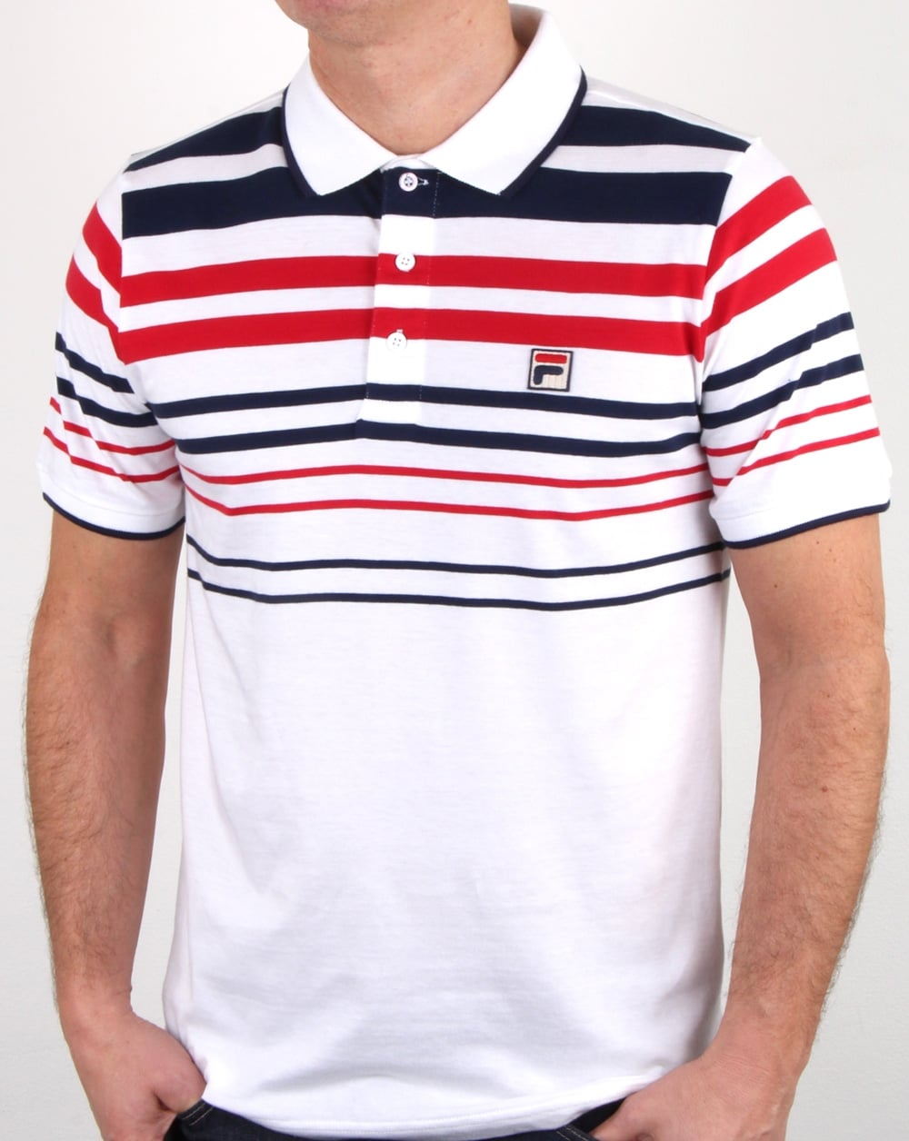 b773a57c Fila Vintage Geeza Point Polo Shirt White/Navy/Red | 80s casual classics