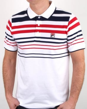 Fila Vintage Business Polo Shirt White/Navy/Red