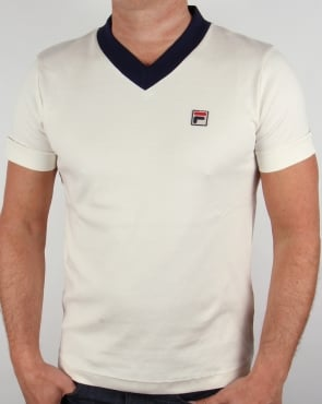 Fila Vintage Carrack V Neck T-shirt Gardenia/Navy