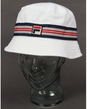 Fila Vintage Casp Bucket Hat White