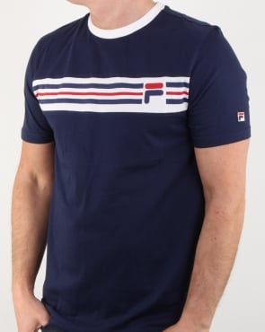 Fila Vintage Chest Stripe T Shirt Navy