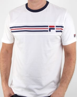 Fila Vintage Chest Stripe T Shirt off white