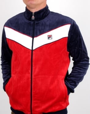 Fila Vintage Chevron Velour Track Top Navy/red/white