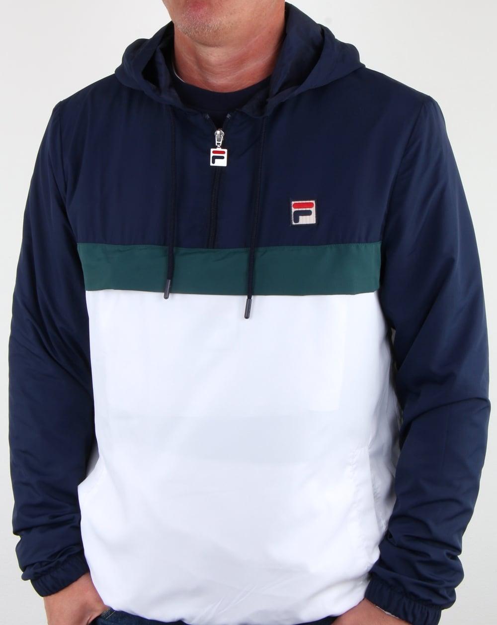 a4c6b365d531 Fila Vintage Cipolla Overhead Jacket White/navy/Green, Mens, Jacket