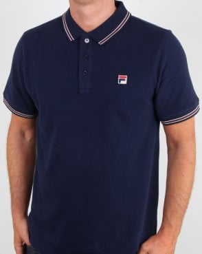Fila Vintage Classic Tipped Polo Shirt Navy