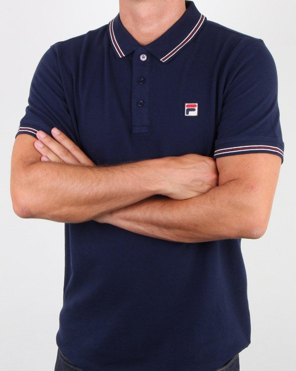 Fila Vintage Classic Tipped Polo Shirt Navy