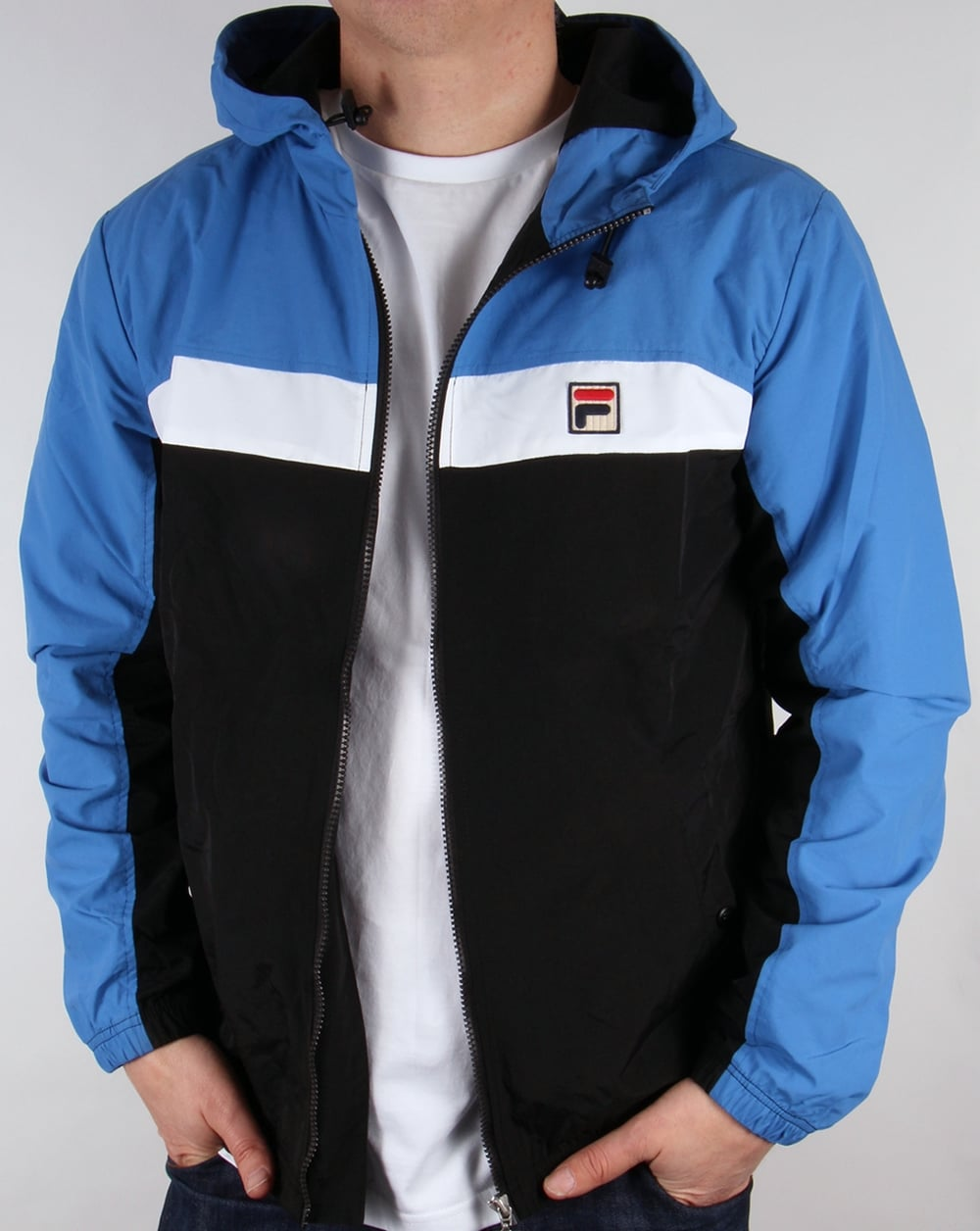 fila jacket mens. fila vintage clipper jacket black/ocean/white mens t