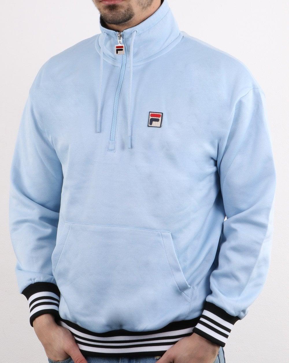 0073c00001ccf Fila Vintage Cole 1/2 Zip Sweatshirt Light Blue | 80s casual classics