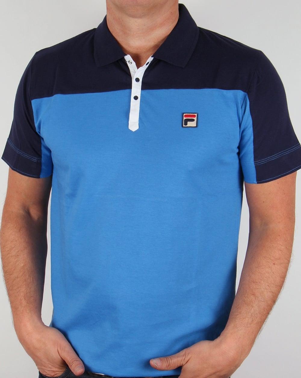Fila Vintage Corsair Polo Shirt Ocean Blue,mens,classic,retro