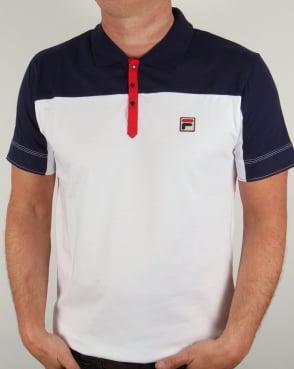 Fila Vintage Corsair Polo Shirt White/Navy/Red