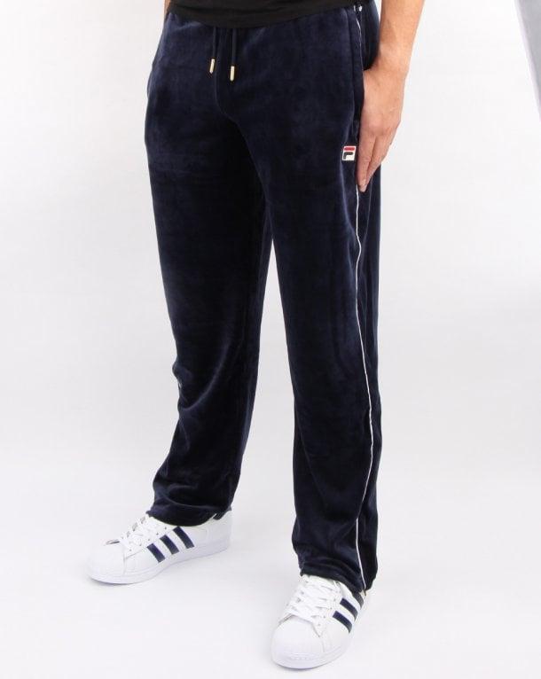 7b055322271 Fila Vintage Cyrus Velour Track Pants Navy, Mens, TRacksuit, Retro