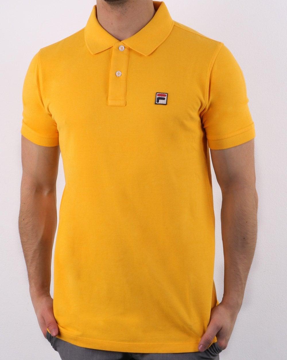 7ad0007b Fila Vintage Dante Polo Shirt Yellow Gold