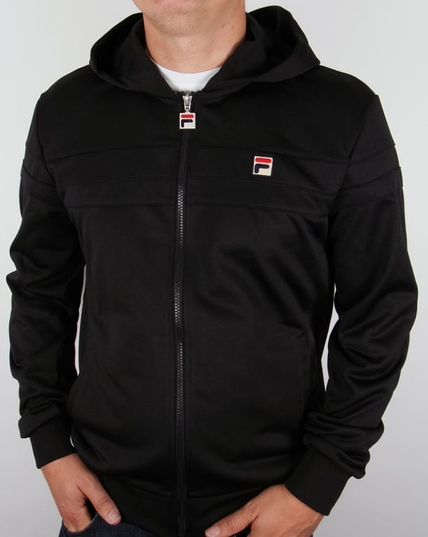 Fila Vintage Dyamo Hooded Track Top Black