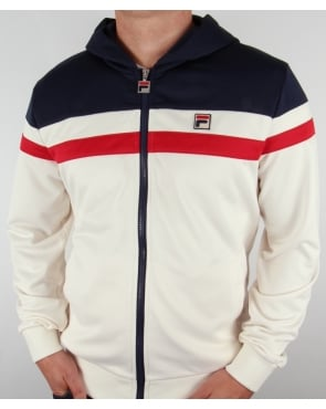 Fila Vintage Dyamo Hooded Track Top Gardenia/navy/red