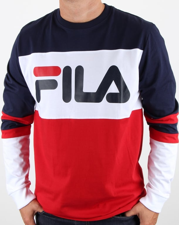 Fila vintage dylan long sleeve t shirt navy retro 90s for Retro long sleeve t shirts