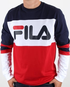 Fila Vintage Dylan Long Sleeve T Shirt Navy