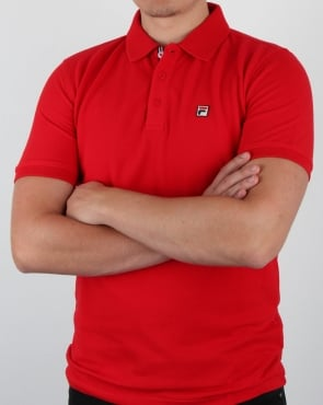 Fila Vintage F logo Polo Shirt Red
