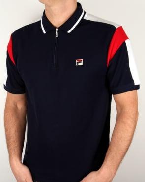Fila Vintage Fabbiano Polo Shirt Navy