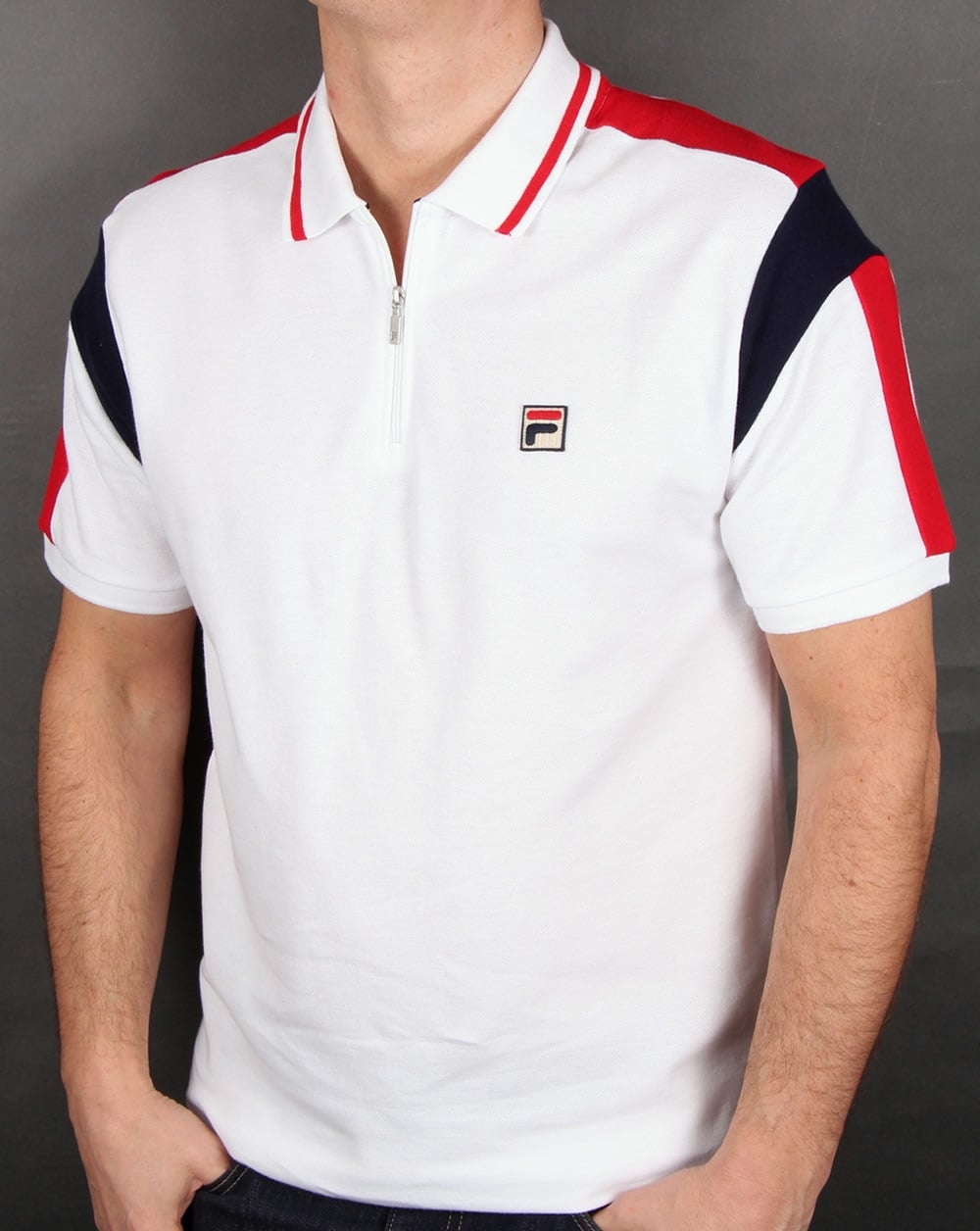 Motvilja tabell uttag  Fila Vintage Fabbiano Polo Shirt White,zipped,cotton,mens