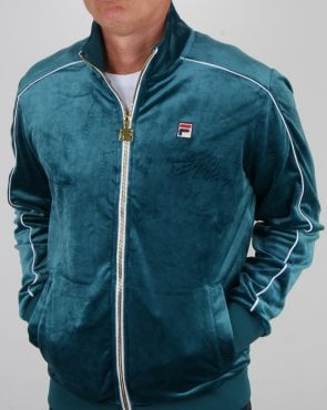 Fila Vintage Finest Velour Track Top Atlantic Blue