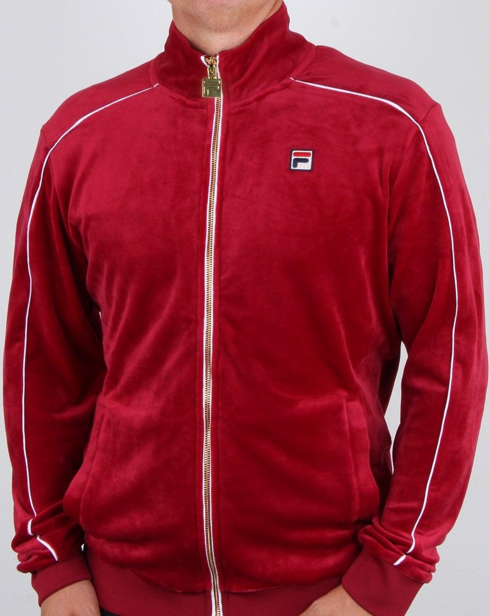 40439998a9a Fila Vintage Velour Track Top, Red, Mens, Linekar, old skrol,Tracksuit