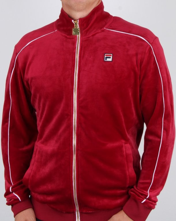 Fila Vintage Finest Velour Track Top Deep Red