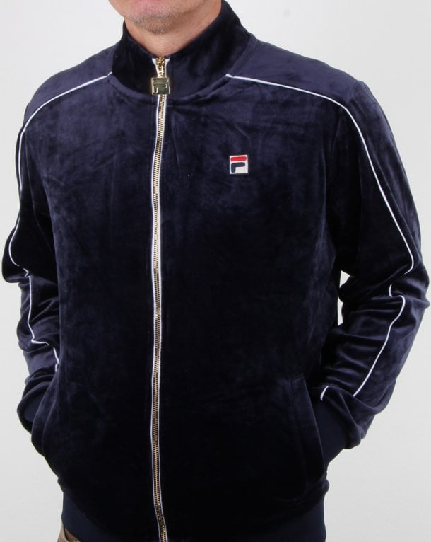 Fila Vintage Finest Velour Track Top Navy