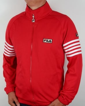 Fila Vintage Five Stripe Track Top Red