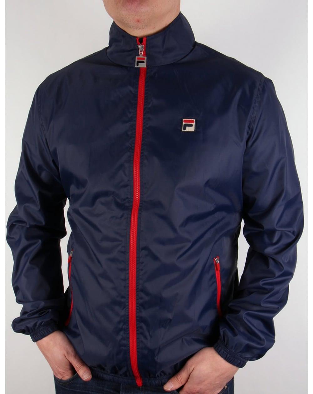 fila navy blue jacket. fila vintage funnel rain jacket navy blue