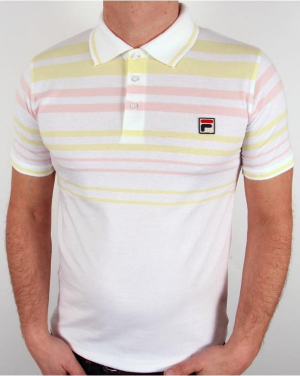 Fila Vintage Geeza Point Polo Shirt White/Pink/Yellow